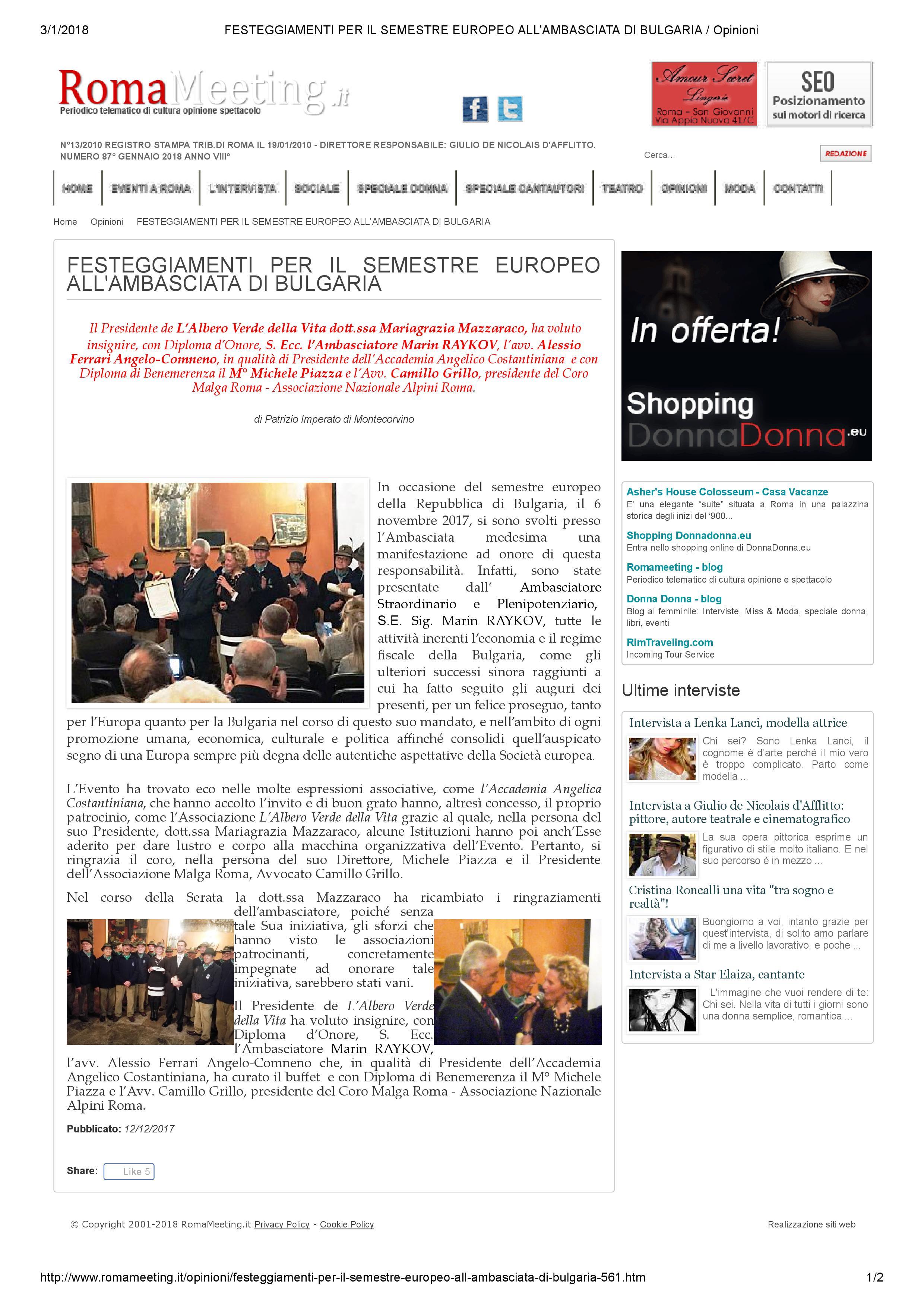 40 articolo ambasciata bulgaria